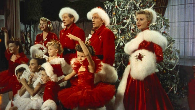 "Rosemary Clooney (from left), Danny Kaye, Bing Crosby and Vera Ellen dream of a ""White Christmas"" in the 1954 musical."