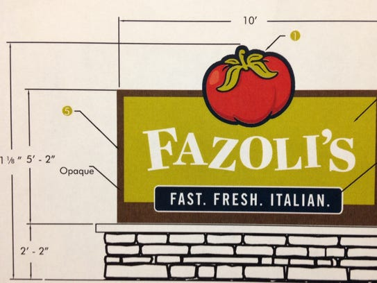 The top half of the tomato on a proposed Fazoli's restaurant