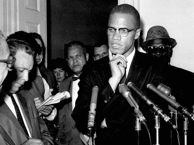 FILE--Slain  civil rights leader Malcolm X  speaks