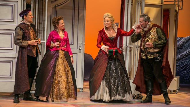 """Joey Collins, Saluda Camp, Caralyn Kozlowski and David Andrew Macdonald in """"The Merry Wives of Windsor."""""""