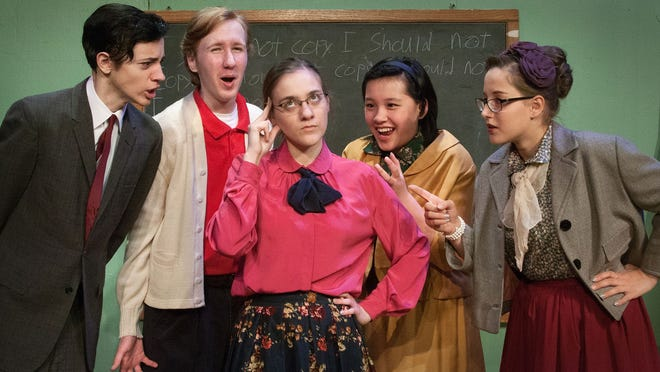 Homeschoolers perform a play set in a public school at DreamWrights.