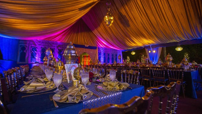 An 'Evening in Marrakesh' party, which was held at the home of Regine and Bill Diamond, featured Moroccan-themed decorations and cuisine.