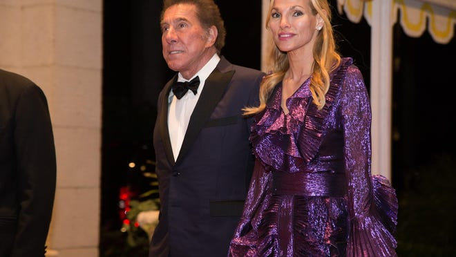 Palm Beach billionaire Steve Wynn arrives with his wife Andrea Hisson, at a New Year's Eve party in December 2017 at the Mar-a-Lago Club. Wyn reportedly is selling his Beverly Hills mansion for $135 million.