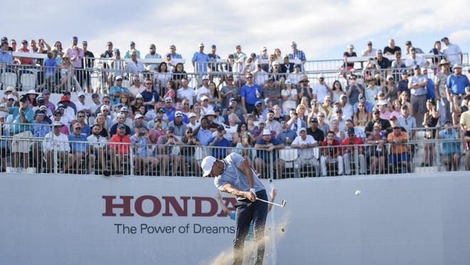 In this 2019 photo, Brooks Koepka tees off at the 17th tee during the final round of the Honda Classic at PGA National Resort & Spa in Palm Beach Gardens. (ANDRES LEIVA/palmbeachpost.com]