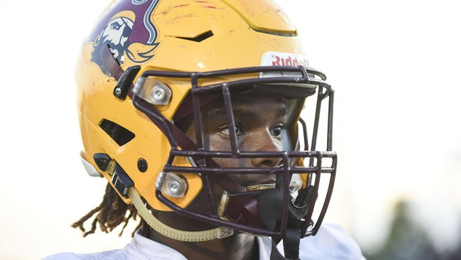 Glade Central wide receiver Ruben Jackson (19) is seen during warmups prior to the start of the game between Park Vista and Glade Central at Park Vista in Lake Worth, FL, on Thursday, October 17, 2019. Final score Park Vista 21, Glade Central, 20.