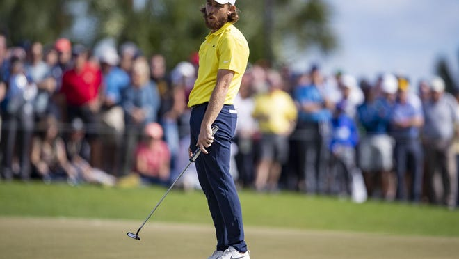 Tommy Fleetwood reacts after a bogey on the 6th hole during the final round of the Honda Classic at PGA National in Palm Beach Gardens on Sunday.