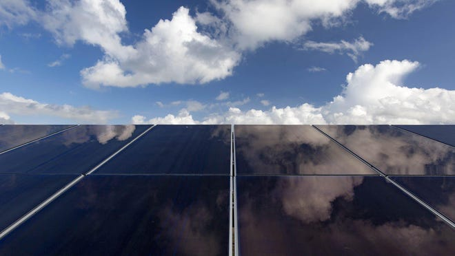 FPL's Hibiscus Solar Energy Center that sits on 400 acres of land on Westlake's west side October 23, 2019. Two thousand five hundred panels of the 300,000 have been installed. Palm Beach County?s first large utility-scale solar plant should be online in 2020. Each solar panel, which were made in Ohio, creates 425 watts of electricity. The solar plant will generate zero-emissions electricity for FPL customers ? enough to power approximately 15,000 Florida homes and equivalent to removing approximately 12,000 cars from the road each year.