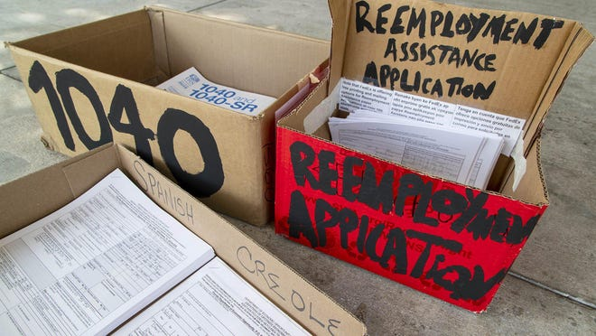 Reemployment Assistance  Applications are available outside the front door of the Palm Beach County Library at the Wellington branch. Florida's unemployment insurance program is called Reemployment Assistance. If you lost your job, were put on furlough or had your hours cut or reduced to zero through no fault of your own, you can apply online or pickup a form to mail to receive monetary assistance and get help finding work.