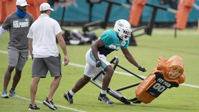 Miami Dolphins cornerback Noah Igbinoghene works at Miami Dolphins training camp on Wednesday.