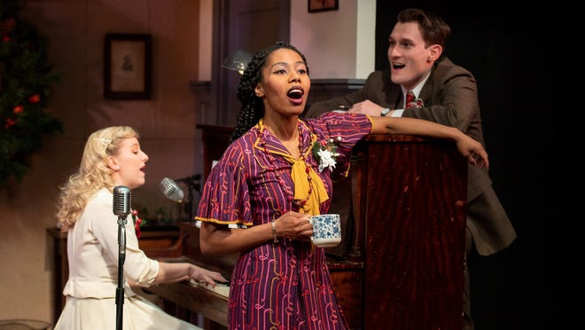 "Starring in The Gamm's ""It's a Wonderful Life"" are, from left, Emily Turtle, left, Lynsey Ford and Jeff Church."