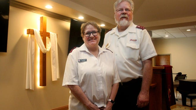 Captains Lisa Thorson, left, and her husband Tim Thorson stand in the chapel at The Salvation Army on Tuesday, July 14, 2020, in Freeport.