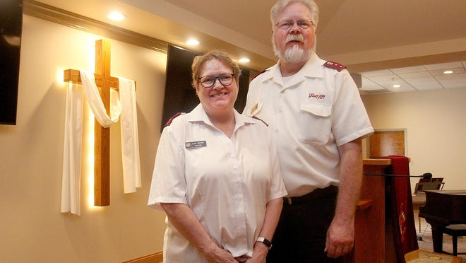"""Capts. Tim and Lisa Thorson are getting ready for The Salvation Army's """"All Things Christmas"""" project in Freeport."""