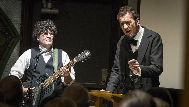 "George Buss, right, performs with Chris Vallillo during ""Lincoln, The Great Communicator."" The duo will perform the program on Wednesday, July 15, 2020, on the Lincoln-Douglas Society Facebook page."