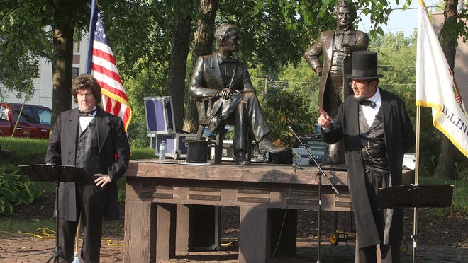 George Buss, right, and Tim Connors will portray Abraham Lincoln and Stephen A. Douglas at a virtual reenactment of the historic Lincoln-Douglas Debates on Saturday, Aug. 29 in Freeport.