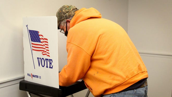 Bill Dickman of Freeport takes advantage of early voting on Tuesday, Oct. 13, 2020, at the Stewart Centre in Freeport.