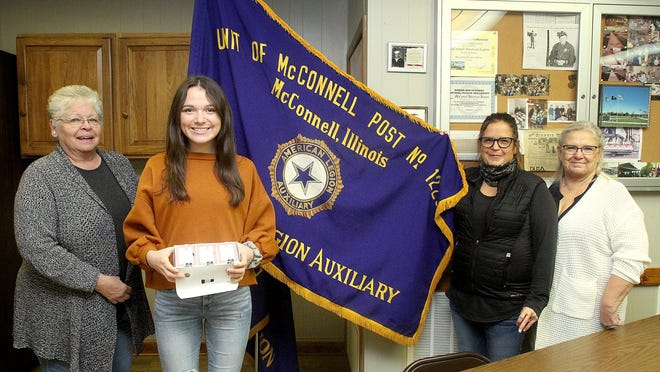 Terri Thyberg, left, Cali Diddens, Nikki Diddens, and Patty Mahon are bringing the McConnell Auxiliary back to life and requested donations for troops at the American Legion on Thursday, Oct. 29, 2020, in McConnell.