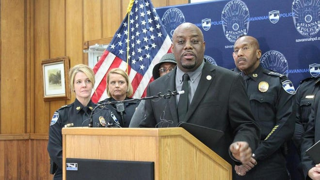 Savannah Mayor Van Johnson addresses gun control at a January  press conference. Police Chief Roy Minter is on the right. Johnson encouraged a peaceful protest May 31, with the cooperation of Minter, along with local business leaders and clergy.