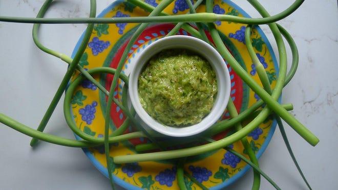 Garlic Toum, a Lebanese aioli-like sauce of garlic, salt and olive oil.