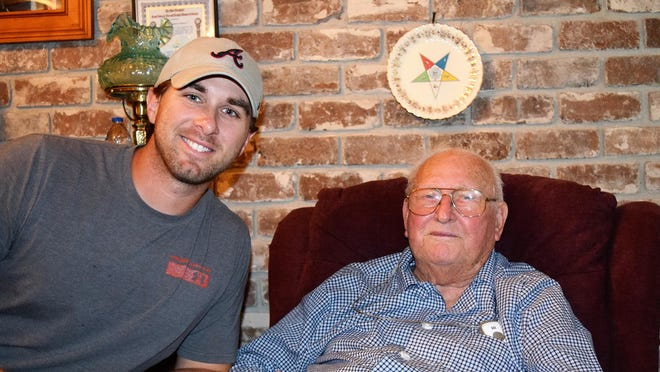 "John Dustin Allen, pictured with his grandfather John Hinely, ""probably the most hardworking man you'll ever meet,"" Allen said."