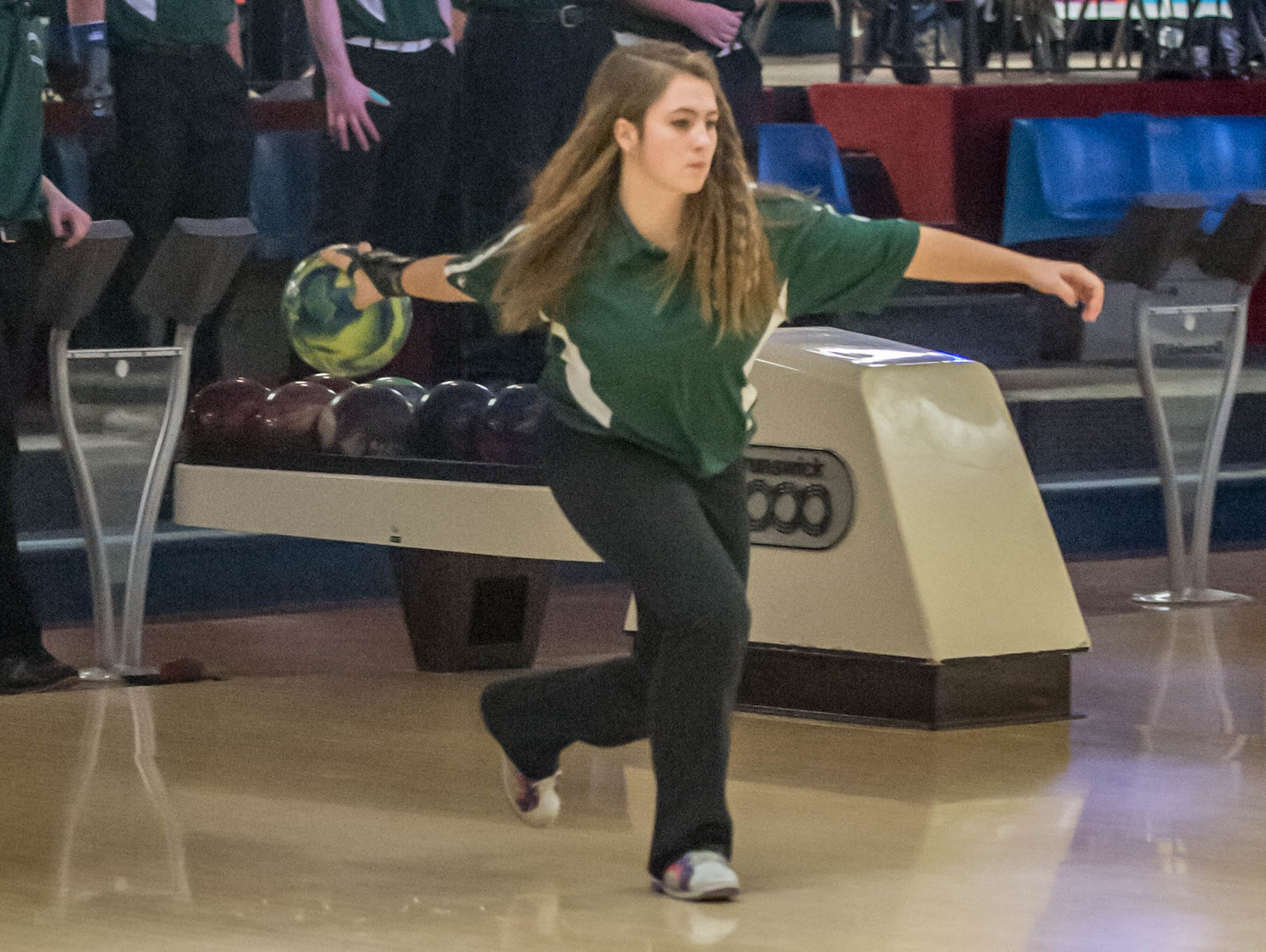 Pennfield freshman Makayla Skidmore during the All-City Bowling Meet at Nottke's on Thursday.