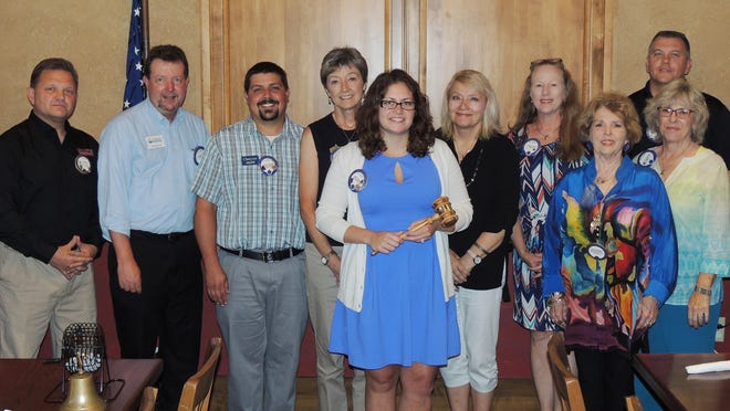 Newly elected Twin Lakes Lions Club officers are, first row, from left, Kelly Johnson, president; Robin Hawkins, board and past president, and Donna McMullen, lion tamer, second row, Lee Belicek, board and past president; George Truell, secretary; Cheyne Coverdale, treasurer; Renae Schocke, third vice president; Linda Clark, second vice president; Libby Barnes, first vice president, and Steve Rackley, tail twister. Brenda Dover, membership director, and Randa Caja, vision screening chairman, were not available for the photo.