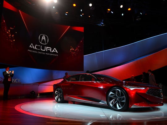 The Acura Precision Concept sits sleek and stylish Tuesday, Jan. 12, during the North American International Auto Show at Cobo Hall.