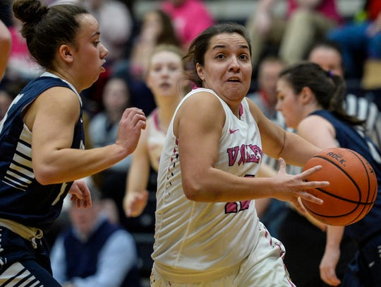 Lebanon Valley's Kiely Chaklos drives to the hoop during