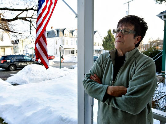 Park Street resident Linda Ressler talks about the fatal shooting that occured near her home at the intersection of Park Place and Park Street in York, Pa. on Thursday, Jan. 28, 2016. (Dawn J. Sagert - The York Dispatch)