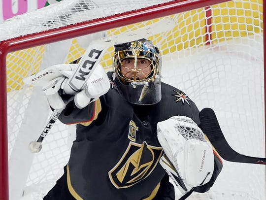 Vegas Golden Knights goalie Marc-Andre Fleury uses