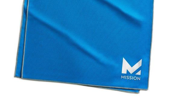 Mission Instant Cooling Towel in cobalt blue/silver.