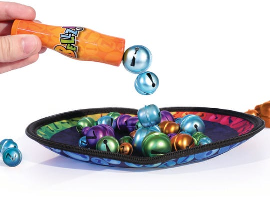 Bellz is a game played with colorful magnetic bells and a magnetic wand.  It is $19.99 at The Cheshire Cat Fine Toy Shop, Fort Myers. Get $10 off a purchase of $50 or more if you mention the New-Press on Small Business Saturday.
