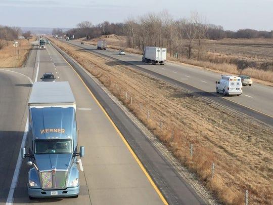 Traffic on Interstate Highway 80 zips along near Mitchellville,
