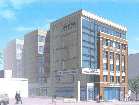 A rendering of the Collegetown Crossing project planned