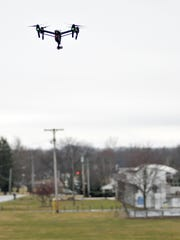 A drone during a demonstration by HYSight Technologies Friday in Marshall Park.