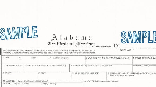 A revised marriage certificate issued by the Alabama Department of Public Health earlier this year. A bill in the Senate would abolish marriage licenses in the state.