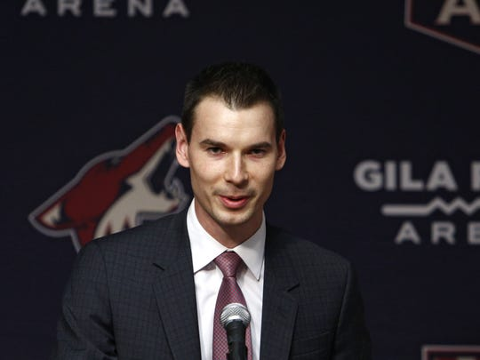 Coyotes GM John Chayka at new head coach Rick Tocchet's