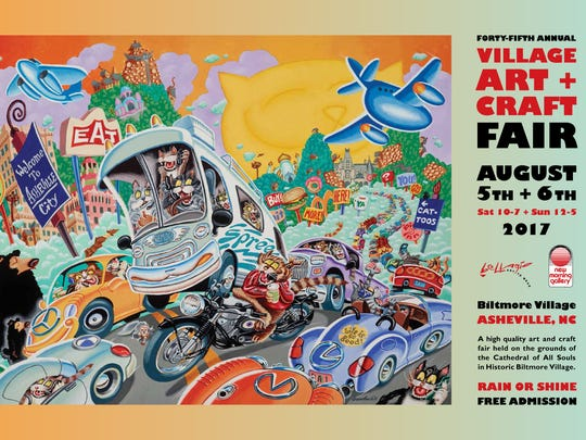 The artwork for the 2017 poster promoting the Village Art & Craft Fair, Aug. 5-6 in Biltmore Village, is by Jeff Gundlach, who has done three previous posters for the fair, in its 20th, 25th and 30th anniversary years.