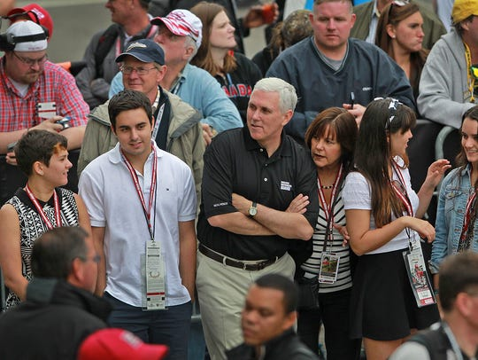 Indiana Governor Mike Pence, center, and his family