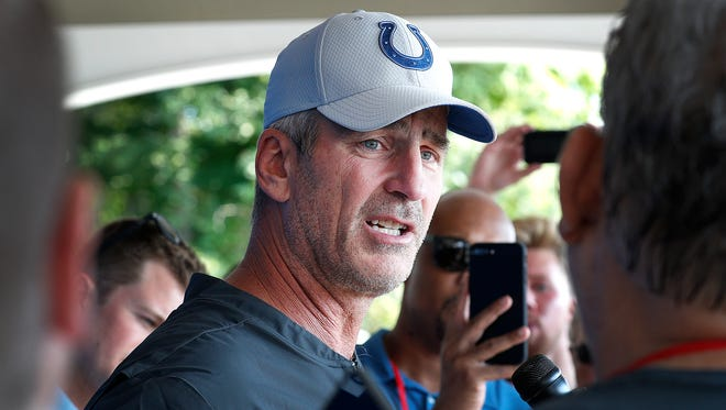 Indianapolis Colts head coach Frank Reich talks to reporters after he and his players reported to training camp at Grand Park in Westfield on Wednesday, July 25, 2018.