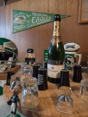 Frank Markert of Dover is planning to share a shot of champagne if the Philadelphia Eagles win on Sunday. The bottle has been in his refrigerator since 1980, when the Eagles first played in a Super Bowl.