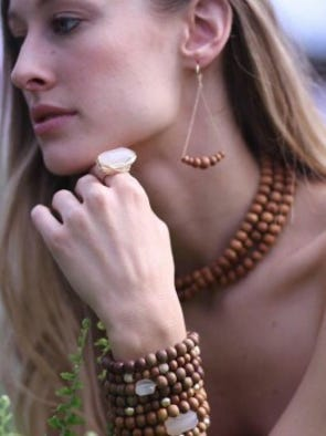 Hippie chic doesn't get any better than the sandalwood collection at Judith Bright. Plain sandalwood bracelets start at $58, sandalwood hoops, $98 at Judith Bright, 2307 12th Ave. S. in Nashville, 615-269-5600.