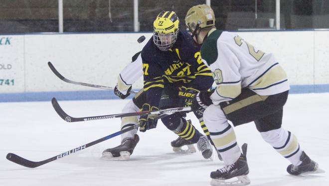 Hartland's Josh Albring (27) was in the running for Mr. Hockey and Livingston County Player of the Year, honors that went to rival Jake Crespi of Brighton.
