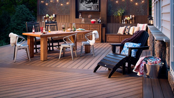 A deck made with material from Trex. Trex produces low-maintenance composite decking.