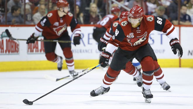 Arizona Coyotes left wing Jamie McGinn (88) during their NHL game against the Colorado Avalanche Monday, Mar. 13, 2017 in Glendale, Ariz.
