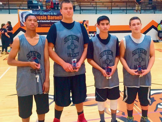 Courtesy Photo   From left, are No Regrets members Jordan Euland, Damian Guck, Jimmy Rico and Gilbert Soto who won the Jesse Darnell 3-on-3 tourney.
