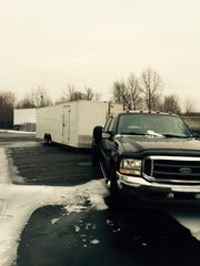 The truck and hauler -- seen in a photo taken earlier -- were stolen early Friday morning.