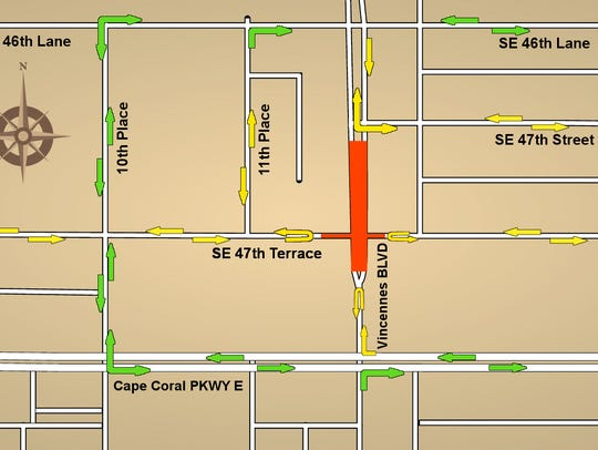 A map showing the new traffic detour off SE 47th Terrace in Cape Coral. Areas marked in orange are active construction zones temporarily blocked to all traffic.