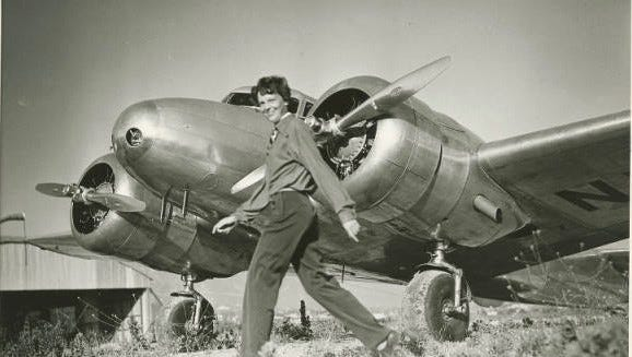 Amelia Earhart and the Lockheed Electra Model 10E Special in which she disappeared.
