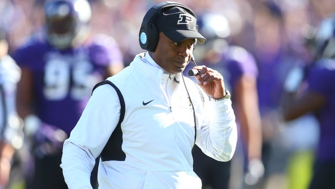 Purdue head coach Darrell Hazell during the game against the Northwestern Wildcats at Ryan Field.