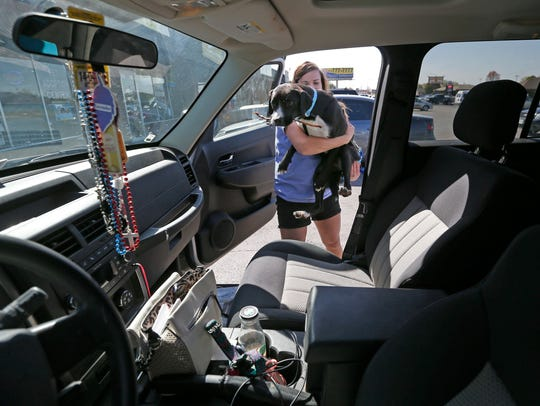 Anna Dankert lifts Cricket into her SUV outside of